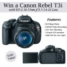 Canon Rebel T3i Giveaway @EclecticEveryday