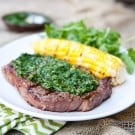 Grilled Gaucho Rib Eye Steaks with Cilantro Chimichurri @EclecticEveryday