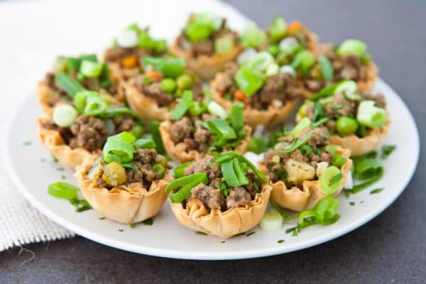 beef bites on white plate