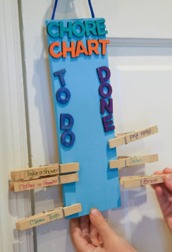 putting clothespin on chart