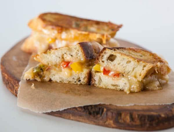 fajita grilled cheese on cutting board