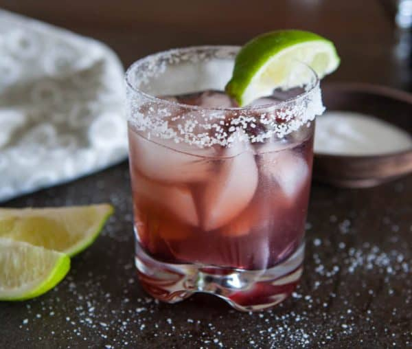 Raspberry Hibiscus Margarita with lime and salt
