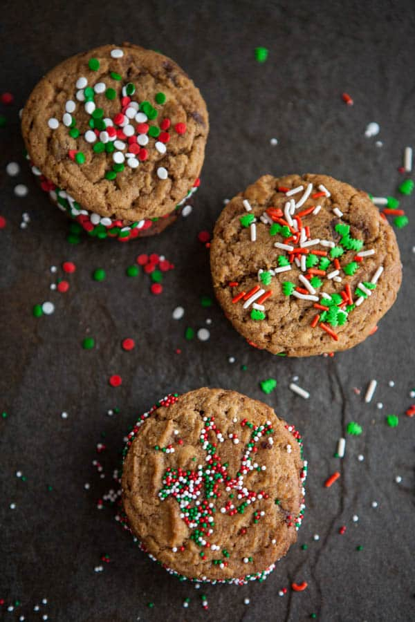 Peanut Butter and Chocolate Stuffed Christmas Cookie Sandwiches Recipe