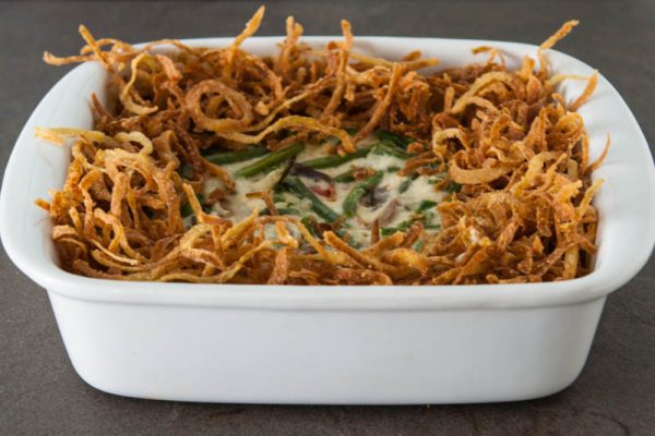 green bean casserole black background
