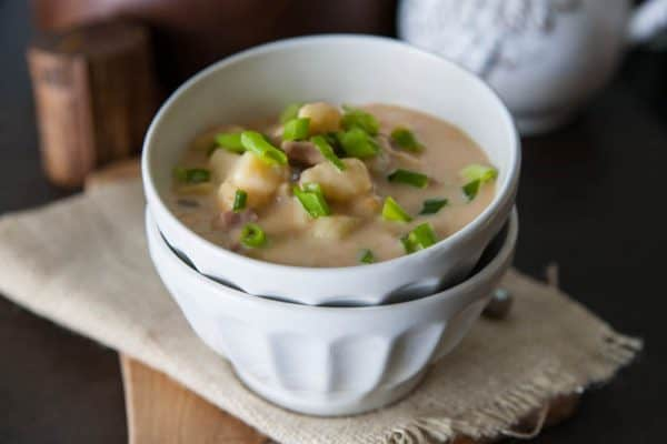 soup in white bowl