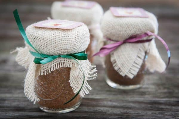 three jars with ribbon