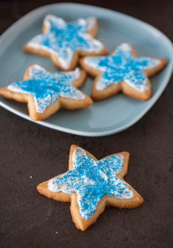 star cookies on blue plate