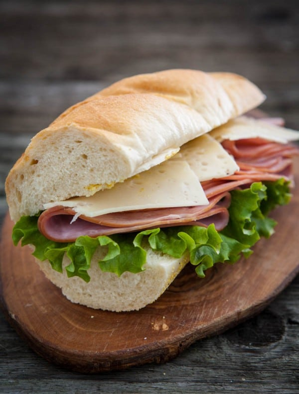 ham and swiss baguette