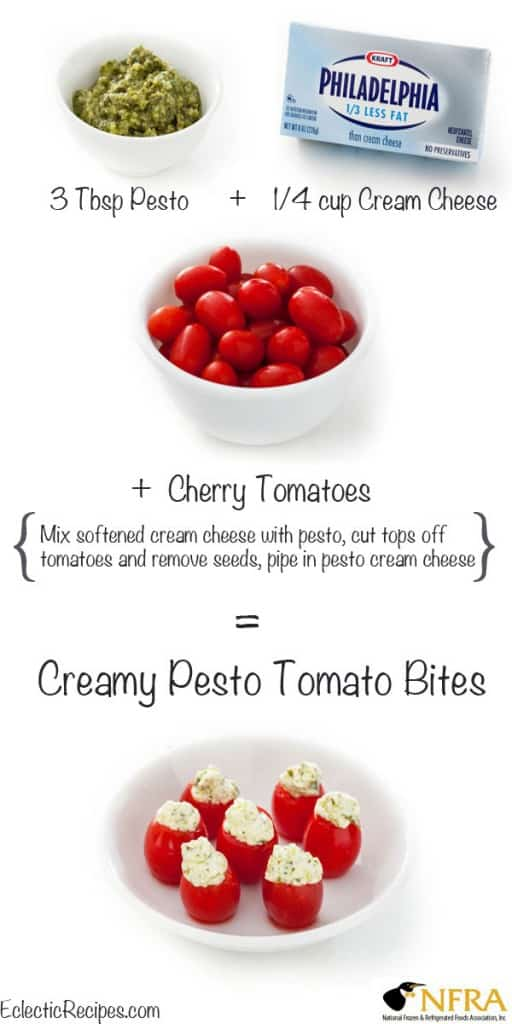 pesto cream cheese and tomatoes make creamy pesto tomato bites