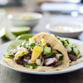 Octopus Tacos with Pineapple Salsa @EclecticEveryday
