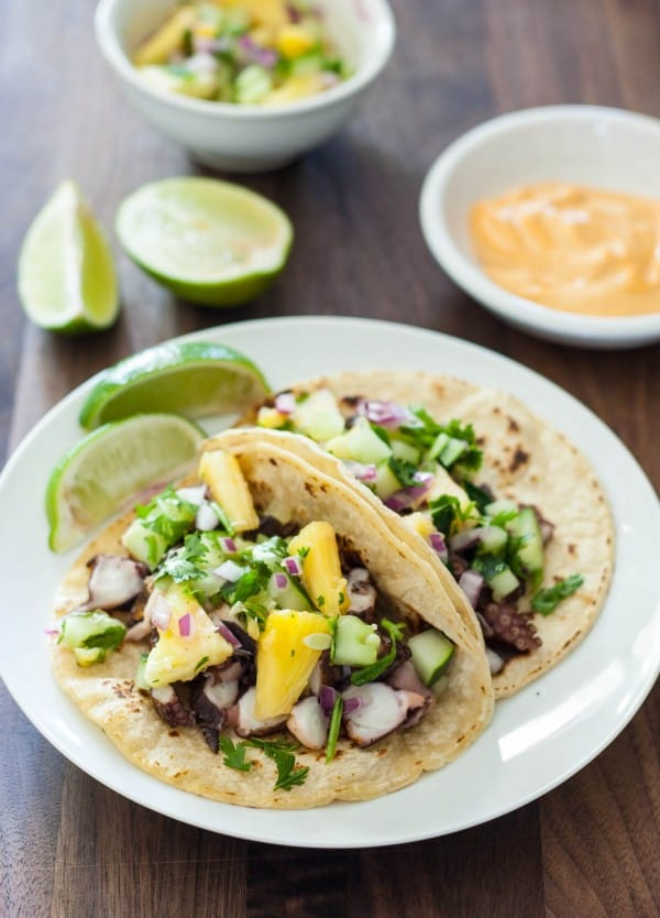 Octopus Tacos with Pineapple Salsa Recipe