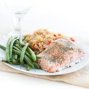 Cajun Quinoa, Baked Salmon and Summer Green Beans 3