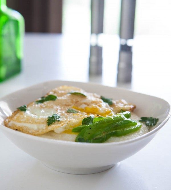 Mozzarella Grits with Peppers and Fried Eggs Recipe