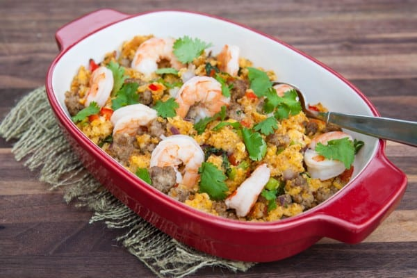 shrimp with stuffing in red pan