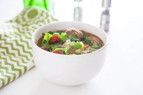 meatball soup white background