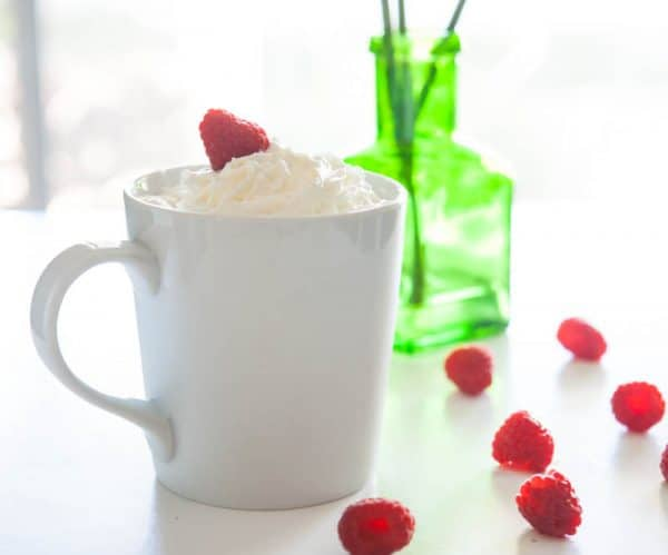 raspberry coffee in white mug