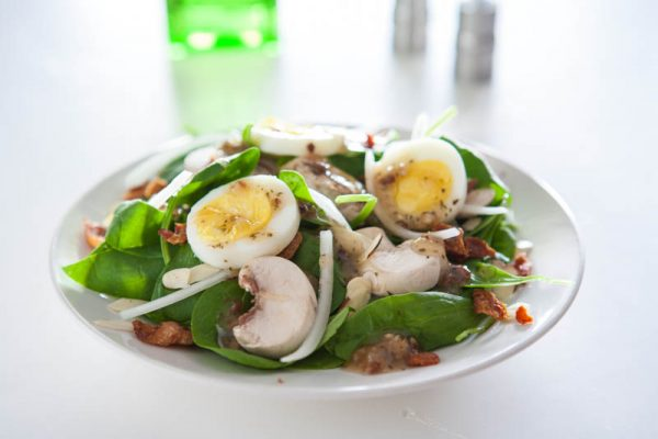 egg and mushroom salad white background