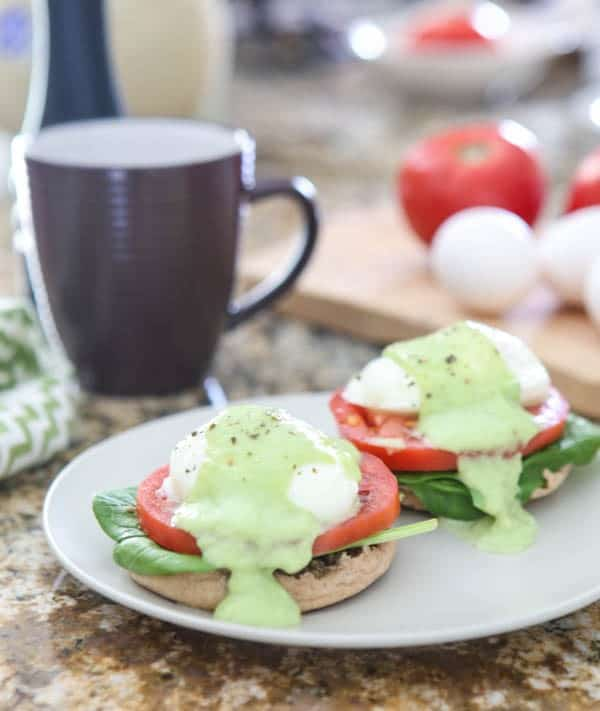 Eggs Benedict with Spinach, Tomato and Avocado Hollandaise Recipe