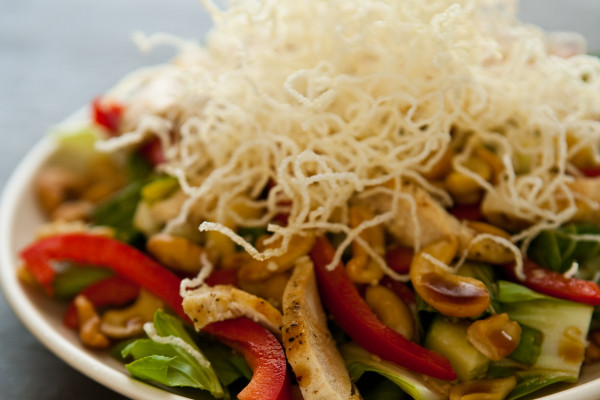 Asian Style Cashew Chicken Salad with Sesame Soy Vinaigrette Recipe