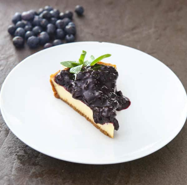 cake with blueberry sauce