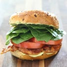 Everything Bagel BLT with Pesto Aioli @EclecticEveryday
