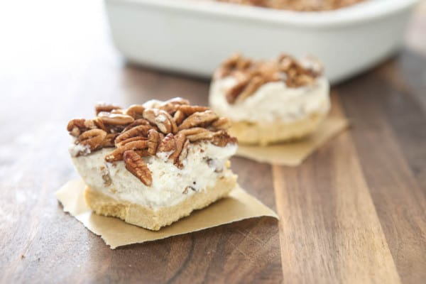 butter pecan bars brown background
