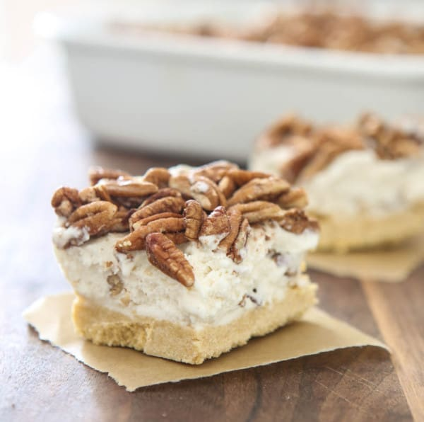 butter pecan ice cream bars on parchment paper