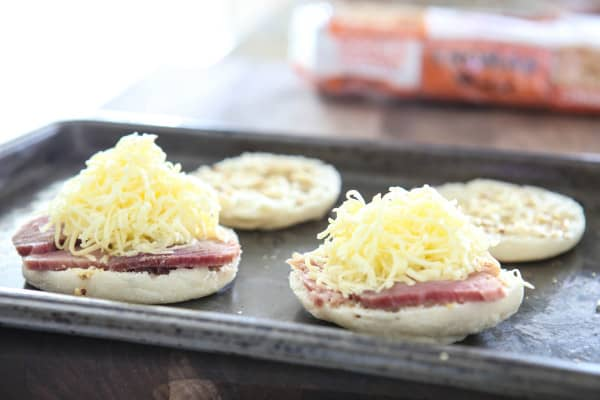 english muffins with ham and cheese