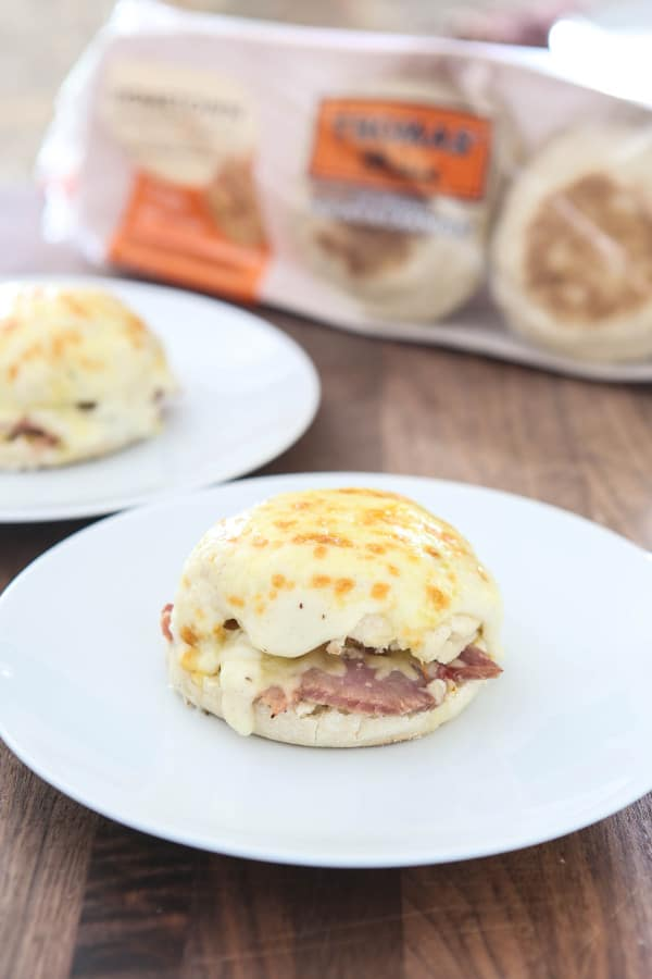 croque monsieur muffins on white plates
