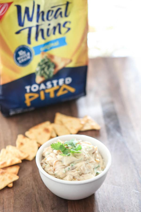 onion dip with pita crackers