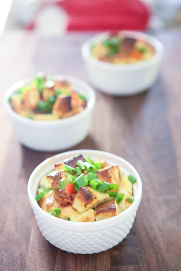 bagel strata in white bowls