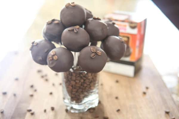 coffee bean cake pops in glass