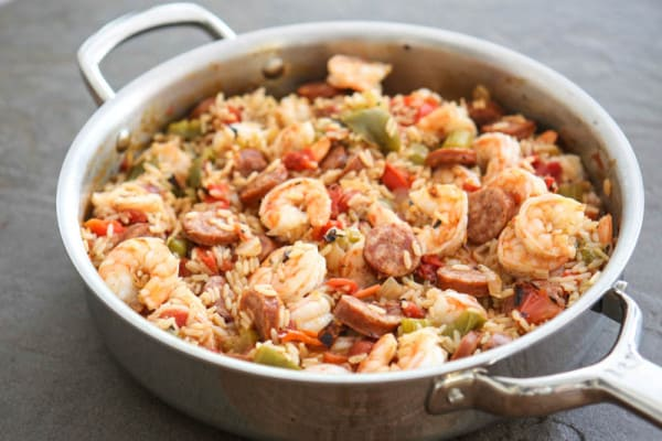 shrimp jambalaya brown background