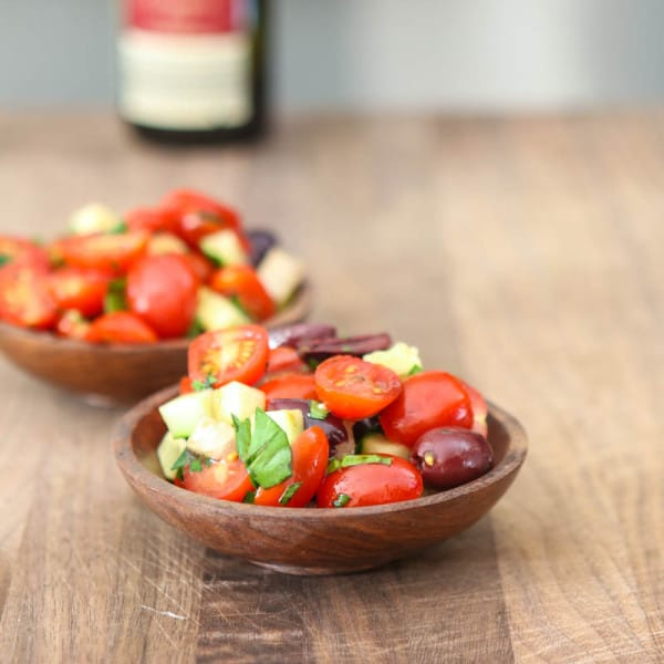 tomato salad on cutting board