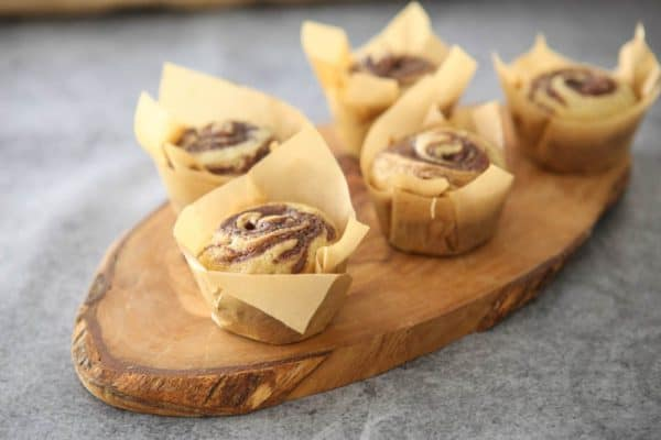 banana nutella muffins grey background