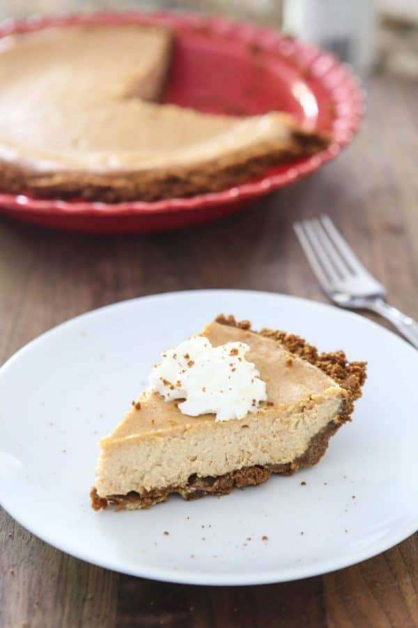slice of cheesecake pie on white plate
