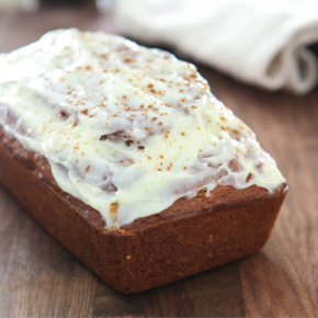 Pumpkin Banana Bread with Spiced Cream Cheese Glaze @EclecticEveryday