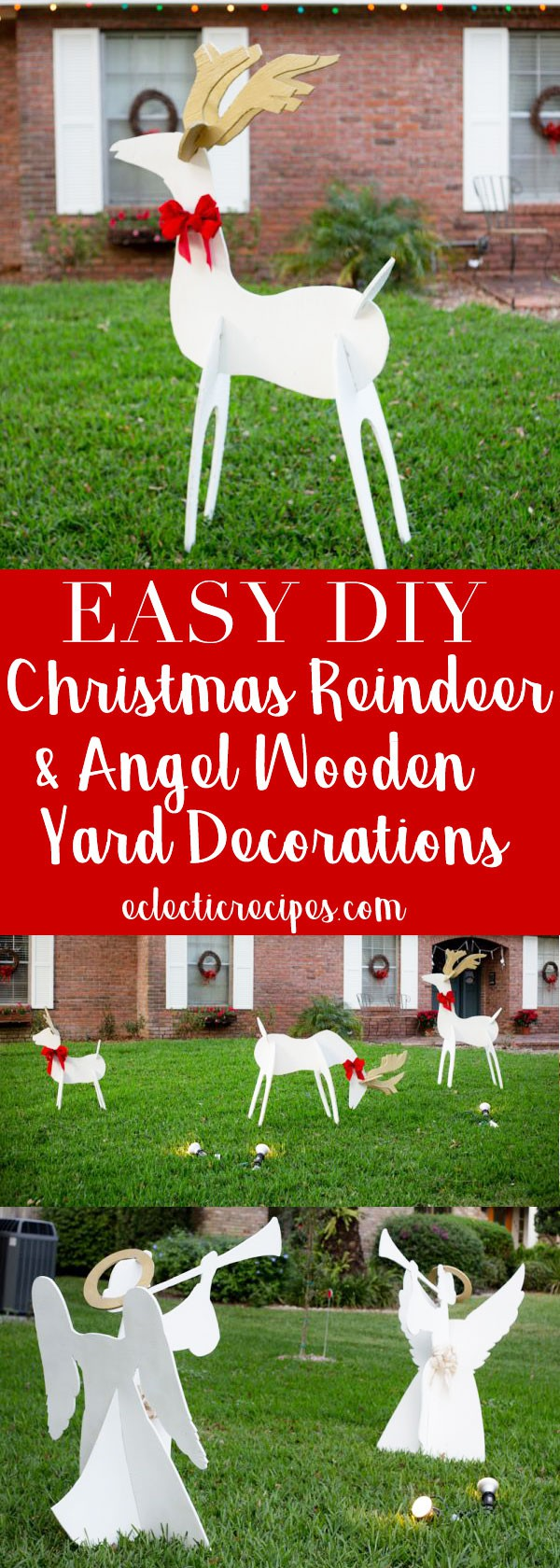 Christmas Reindeer and Angel Wooden Yard Decorations DIY #christmas #holiday #diy #craft #reindeer