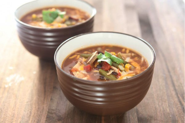taco soup brown background