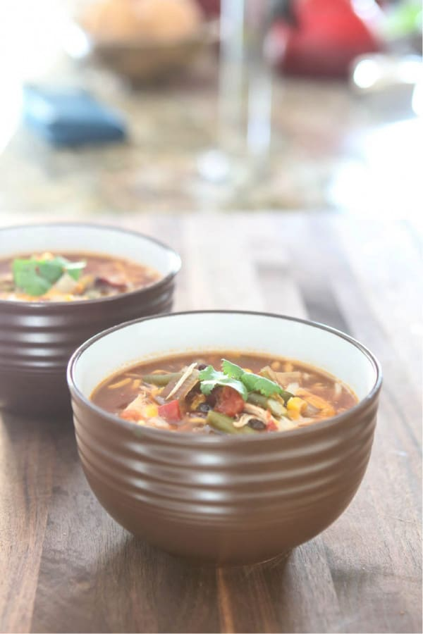 taco soup in brown bowls