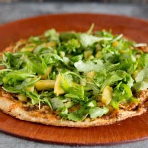 Pulled Pork Pineapple & Jalapeno Flatbread Pizza topped with Watercress and BBQ Vinaigrette by Eclectic Recipes