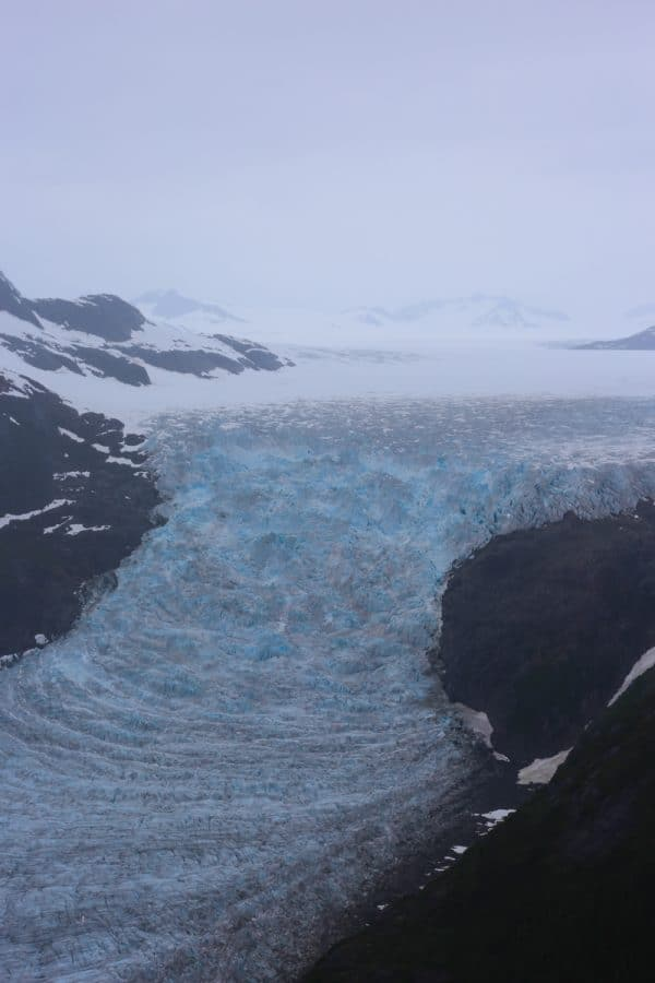 picture of glacier falling down mountainside