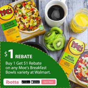 Buy 1 Get $1 Rebate on any Moe's Breakfast Bowls at Walmart by Eclectic Recipes
