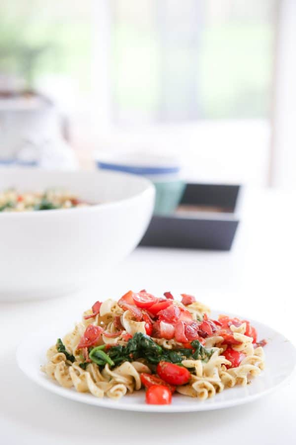 blt noodles on plate and in bowl