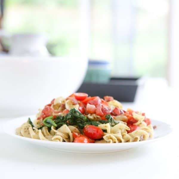 blt noodles on white plate