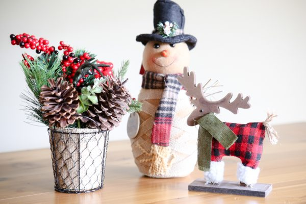 snowman and reindeer figures