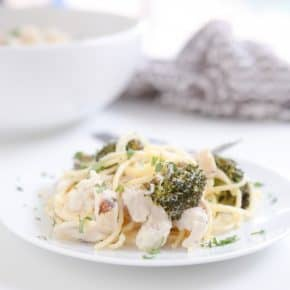 Creamy Cauliflower Alfredo with Roasted Broccoli and Grilled Chicken by Eclectic Recipes