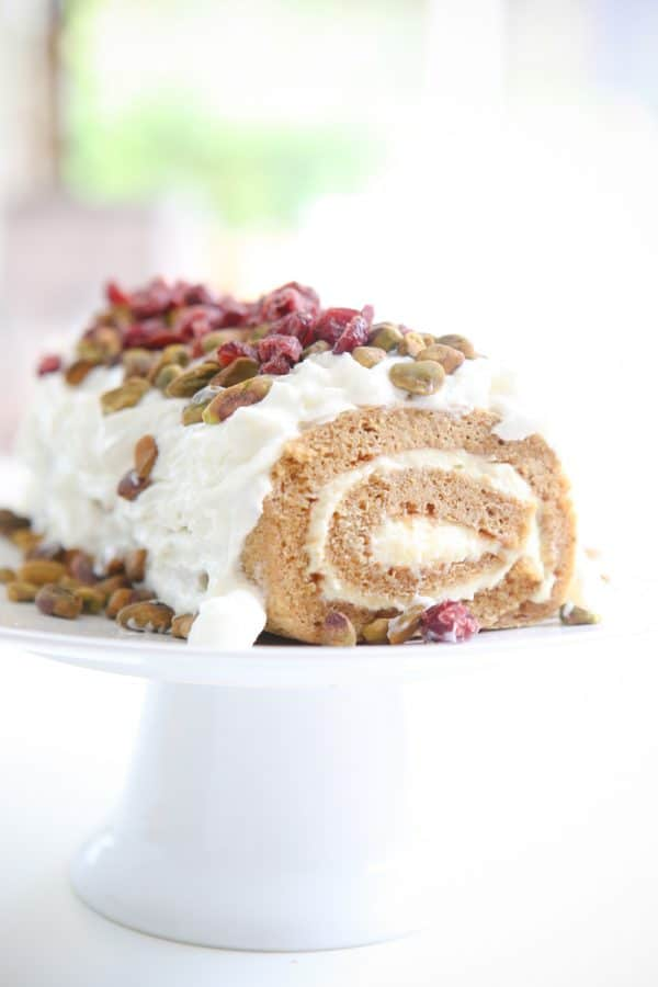 pumpkin roll on cake platter