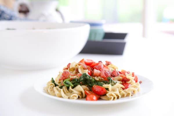 blt noodles in front of white bowl