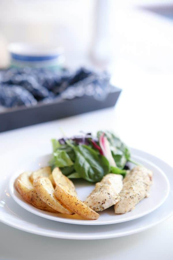 Roasted Lemon Garlic Herb Chicken Breasts with spinach salad